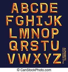 illustration., złoty, alfabet, barwa, wektor, style.