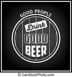 illustration., zacytować, typografia, emblemat, tło., piwo,...