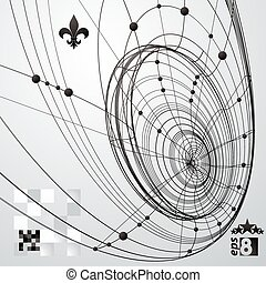 illustration., zasłona, kolor, abstrakcyjny, krata, jednorazowy, wektor, skomplikowany, eps8, konceptualny, tech, geometryczny, 3d