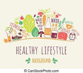 illustration., zdrowy, wektor, styl życia