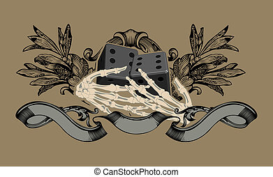 illustration., zeichen, vektor, gluecksspiel, hands., skelett