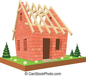 illustration., zielony, dom, nowy, trawa, niedokończony