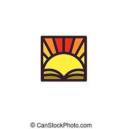 illustration., zon, abstract, vrijstaand, zonopkomst, akker, vector, ondergaande zon , logo.