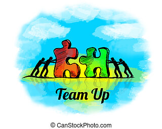 Illustration.Business concept of teamwork with jigsaw...