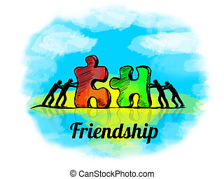 Illustration.Business concept of teamwork with jigsaw puzzle. Friendship