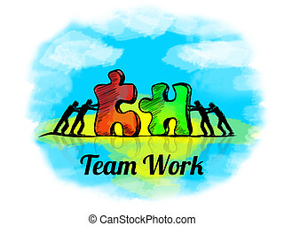 Illustration.Business concept of teamwork with jigsaw puzzle. Team Work