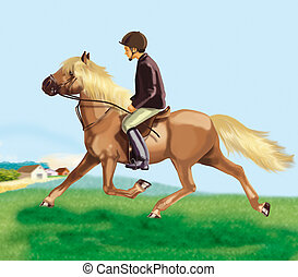 pony trot - illustrationclassic, pony trot
