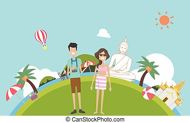 illustration.couple, reise, natur, traditionelle , kultur, vektor, thailand., hintergrund, thailand, summer.phuket, feiertag, tourismus
