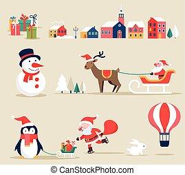 illustrationen, elemente, heiligenbilder, retro, weihnachten