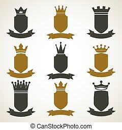 illustrationen, ritterwappen, blazon, königlich