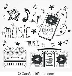 illustrationen, sketchy, musik