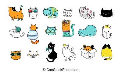 illustrationen, vektor, doodles, sammlung, katz