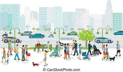 illustration.eps, κυκλοφορία , μεγάλος , δρόμοs , διαβάτης , μεταφορά , δημόσιο , πόλη
