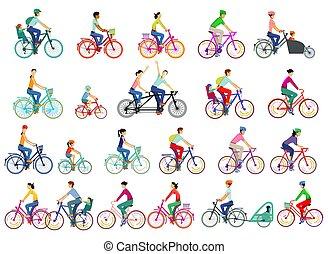 illustration.eps, 大きい, サイクリスト, セット, 隔離された, グループ, ベクトル