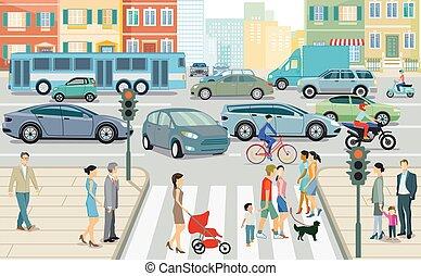 illustration.eps, tráfico de camino, ciudad