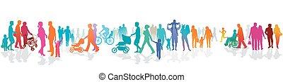 illustration.eps, vector, multitud, acera