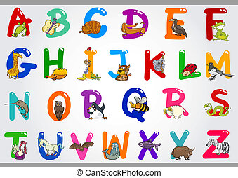 illustrationer, alfabet, djuren, tecknad film