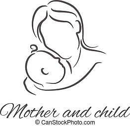 illustrationer,  baby, silhuett, linjär, mor