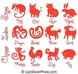 illustrationer, eller, ikonen, av, alla, tolv, kinesisk, zodiaken, animals.