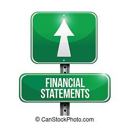 illustrationer, finansiell, uttalanden, vägmärke