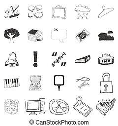illustrationer, klotter, sätta,  25
