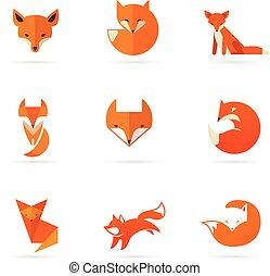 illustrationer, räv, elementara, ikonen