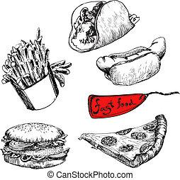 illustrationer, sätta, fasta, mat