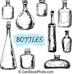 illustrationer, sätta, Flaskor