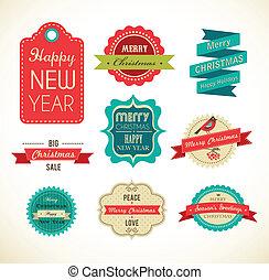 illustrationer, vinhøst, elementer, etiketter, jul