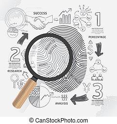 illustration.focus, negócio, sucesso, concept., idéia, estratégia, plano, impressão digital, doodles, linha, magnifier.vector, desenho