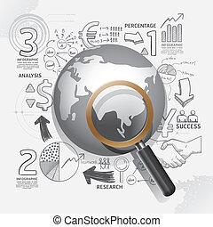 illustration.focus, negócio, sucesso, concept., idéia, estratégia, plano, mundo, doodles, linha, magnifier.vector, desenho