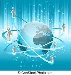 networking - illustrationn of networking with globe