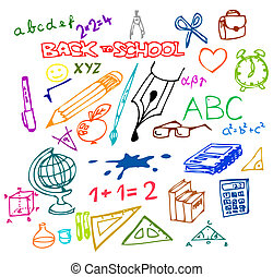 illustrations, école, -, dos