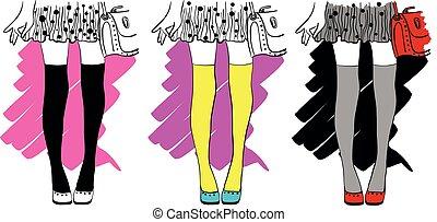 illustrations, élégant, dots., branché, vecteur, ensemble, jupe, mode, dessin, jambes, girl, polka