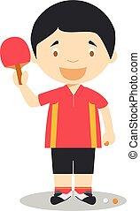 illustrations:, テニス, スポーツ, ベクトル, テーブル, 漫画