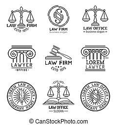 illustrations., ロゴ, 法律, 提唱者, 正義, オフィス, セット, スケール, 小槌, ベクトル, 弁護士, ラベル, 型, collection., ∥など∥