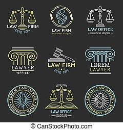 illustrations., ロゴ, 法律, 正義, オフィス, セット, スケール, 小槌, ∥など∥