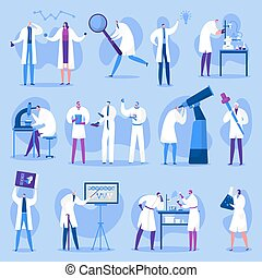 illustrations., 医者, 科学者, 科学, 人々, 女性, ベクトル, research., 特徴, マレ, セット, 実験室, 隔離された, 科学