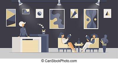 illustrations., 平ら, ベクトル, メニュー, 読書, テーブル, レストラン, 登録, ホテルのロビー...