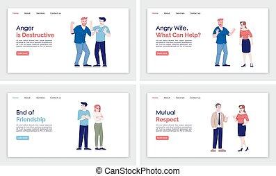 illustrations., 概念, インターフェイス, テンプレート, web ページ, 着陸, 漫画, 平ら, ...