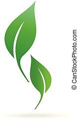 illustrations., 緑, アイコン, 葉, エコロジー, ベクトル, icon.