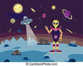 illustrations alien on the moon surface  a background of outer space in  flat style