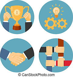 illustrations, association, coopération, business