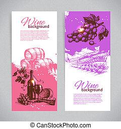 illustrations., bannières, vin, arrière-plan., vendange, main, dessiné