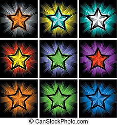 illustrations, coloré, étoiles, briller