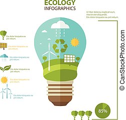 Illustrations Concept Of Lamp With Icons Of Ecology, Environment, Green  Energy. Vector