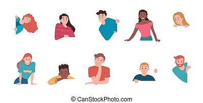 illustrations, curieux, adorasble, gens, gai