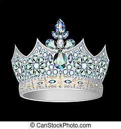 illustrations decorative crown of silver and precious stones