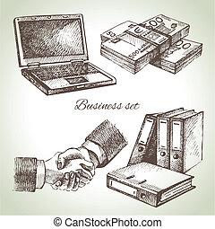 illustrations, dessiné, set., business, main
