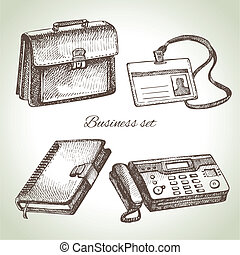 illustrations, dessiné, set., business, main